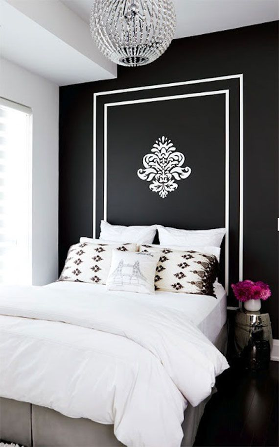 Black Walls Ideas For Your Modern Interiors 47 Pictures Painted Headboard Home Bedroom Home Decor
