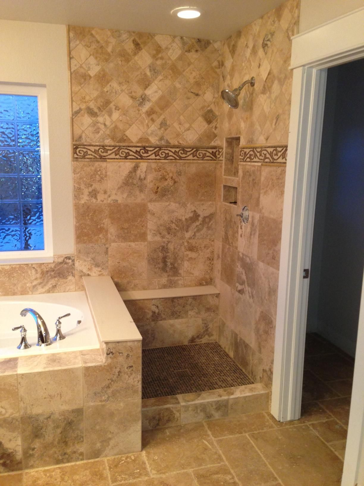 Travertine Tile Bathroom Ideas travertine tile shower | a world of tile - happy customers