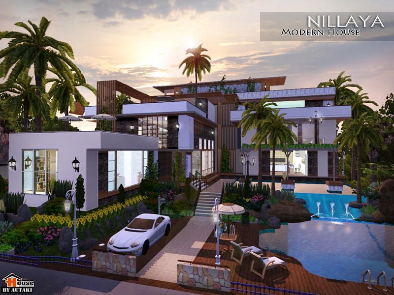 This House For The Large Fammily Found In Tsr Category Sims 3 Residential Lots Sims 4 Modern House Sims House Design Sims Building