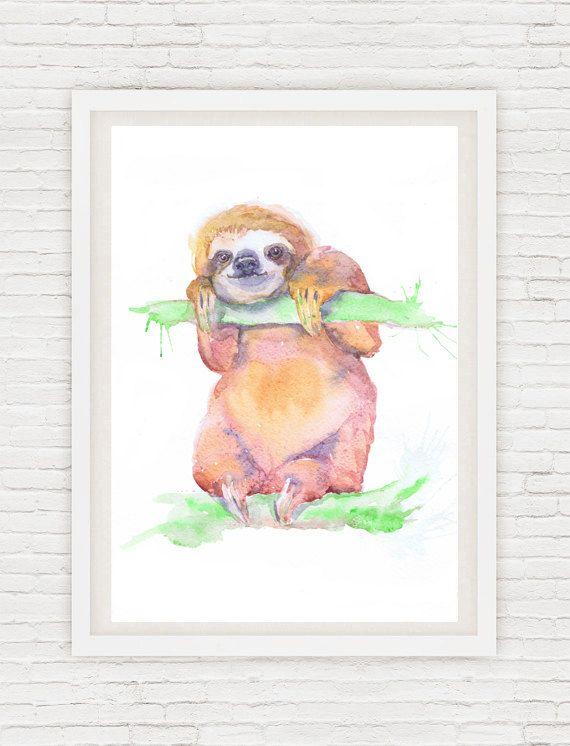 Chambre de bébé paresseux Art, peinture à l\u0027aquarelle, estampes - peinture chambre bebe fille