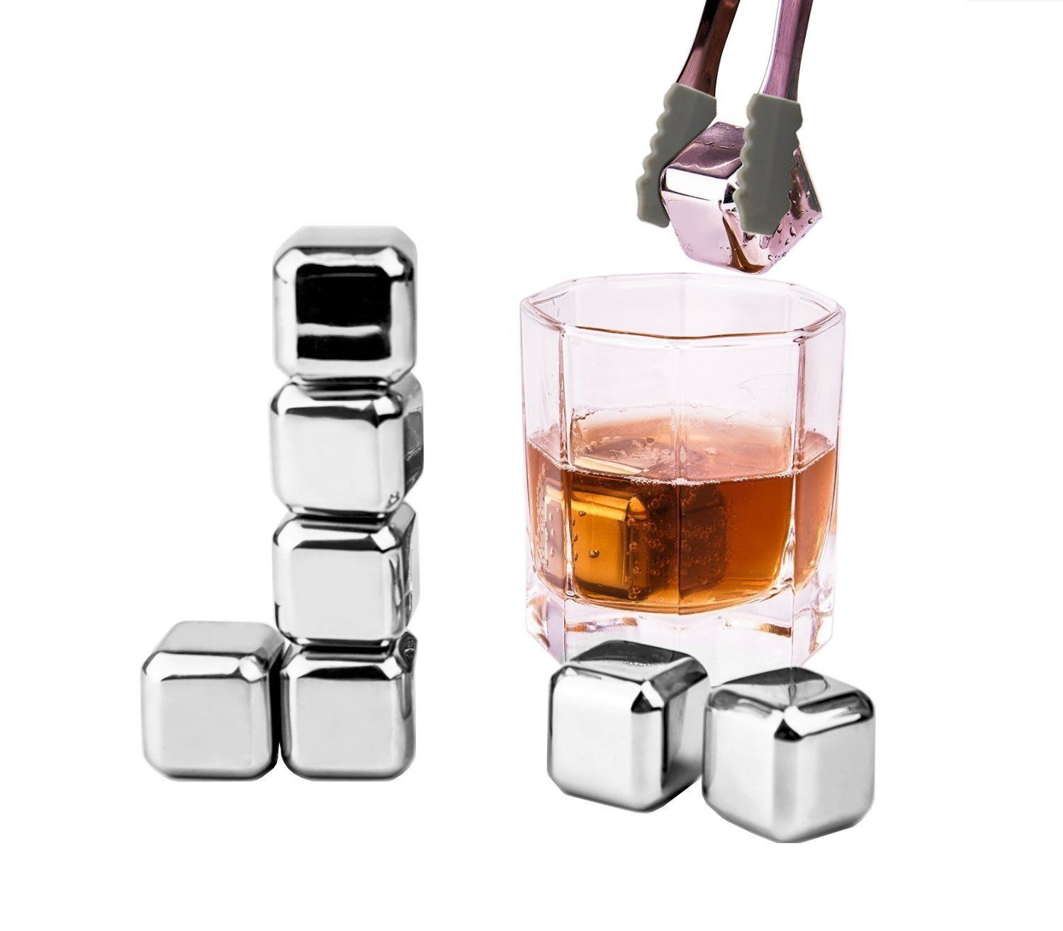 Whisky Ice Cubes, TPfocus 8 PCS Reusable Stainless Steel Cooling ...