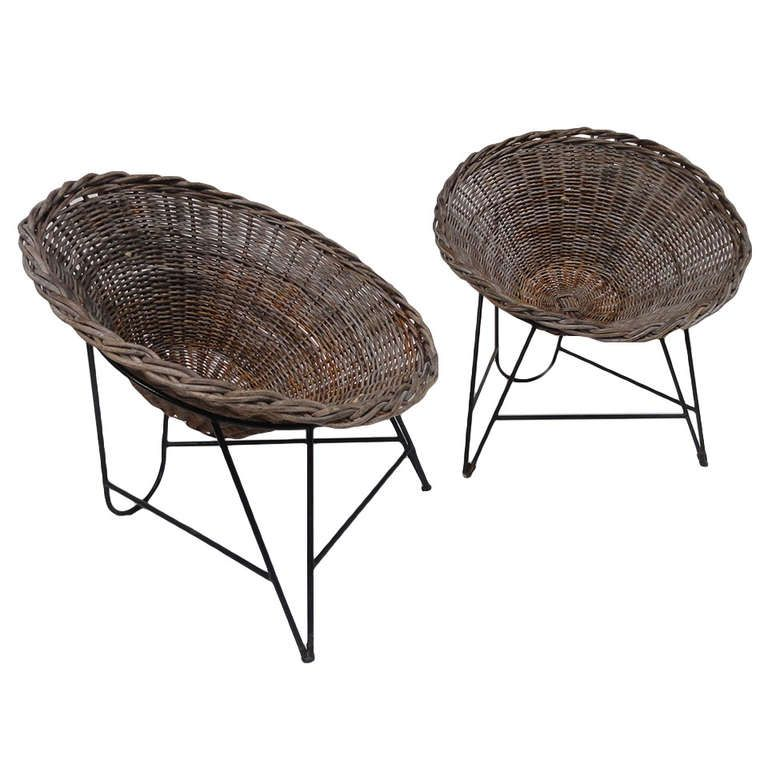 nice pair of dutch 50 s outdoor wicker basket chairs with metal wire rh pinterest com