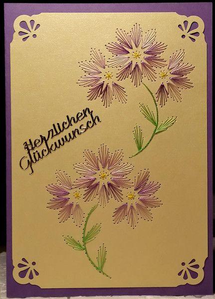 Fadengrafik Doppelkarte Blumen 26 Fruhling Lila Art Craft Cards Paper Embroidery Sewing Cards