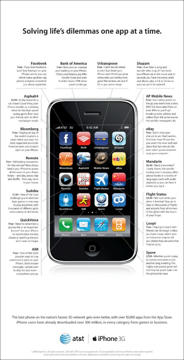 iPhone 3G ad Apple advertising, Iphone apps, Apple
