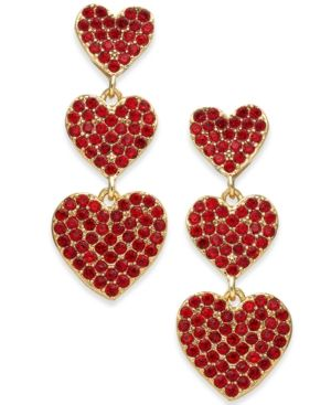 941108d58429c KATE SPADE KATE SPADE NEW YORK ROSE GOLD-TONE PAVE HEART TRIPLE-DROP  EARRINGS.  katespade