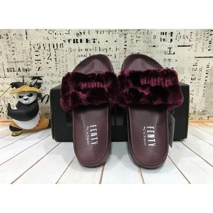 Rihanna x Puma Fur Slide By Fenty Leadcat Slippers Womens Burgundy ... 49face3e4