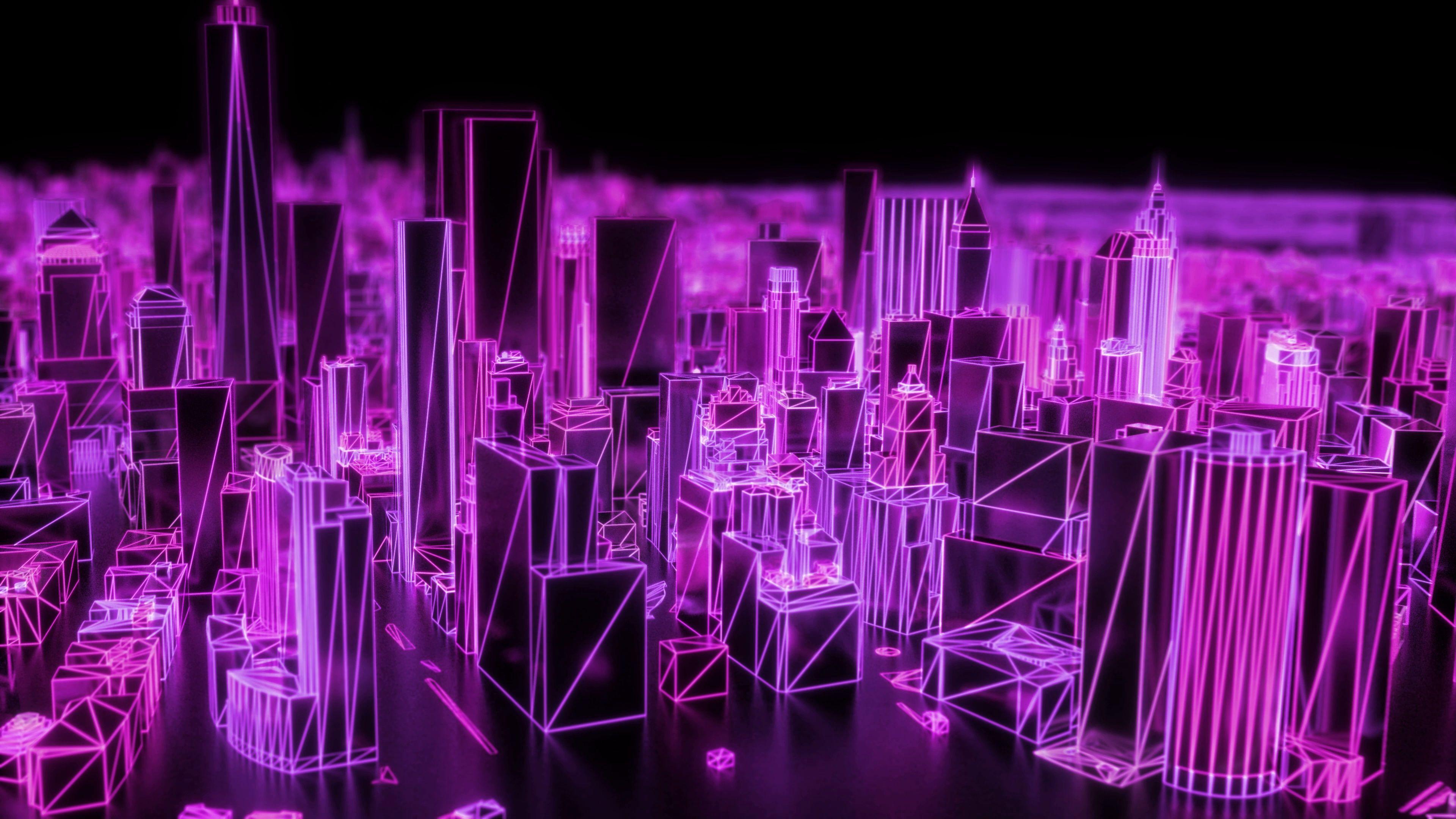 City neon glowing dof model new york nyc flyover wireframe