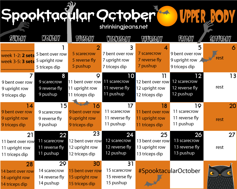 october monthly fitness calendar upper body