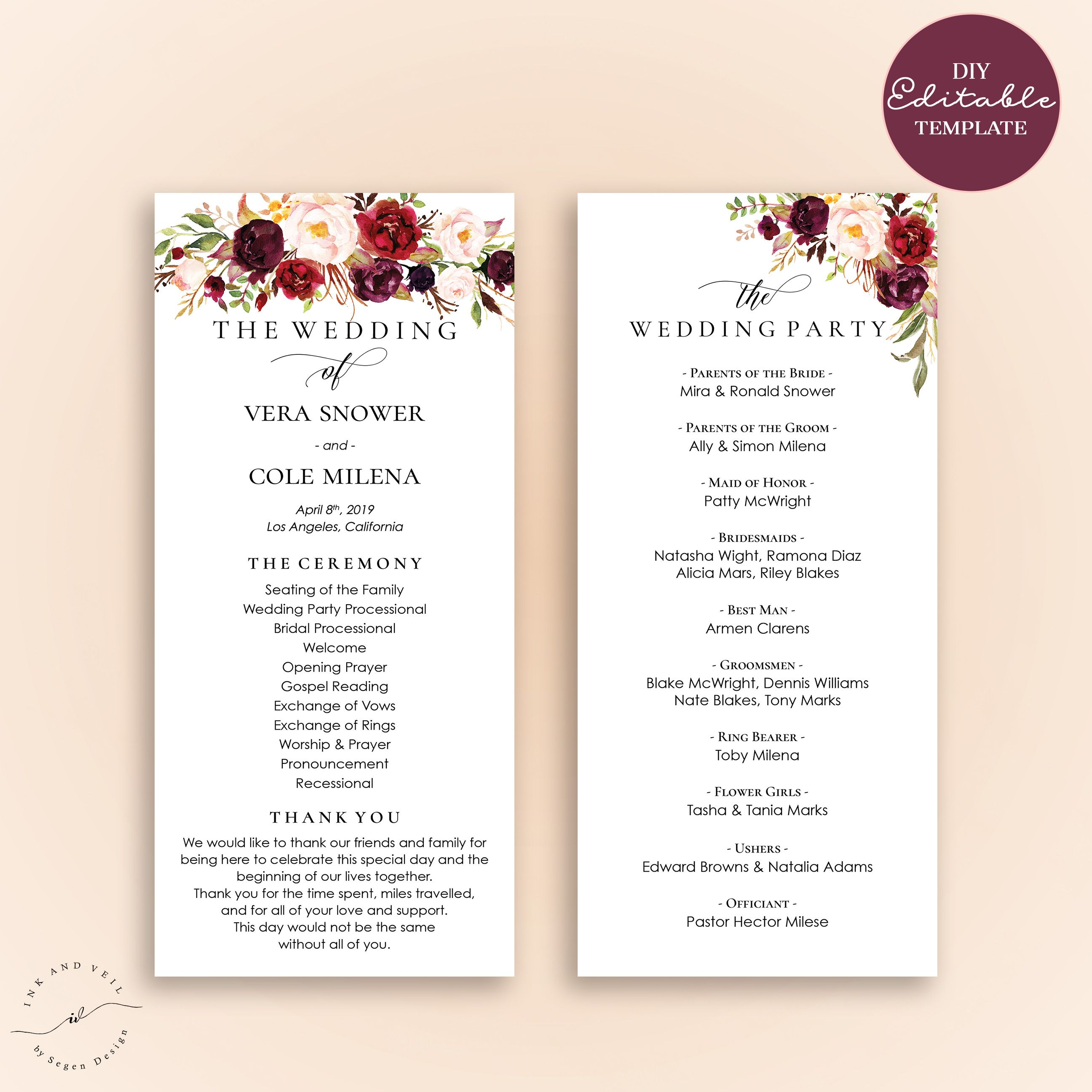 Wedding program editable template marsala burgundy floral for Wedding processional order template