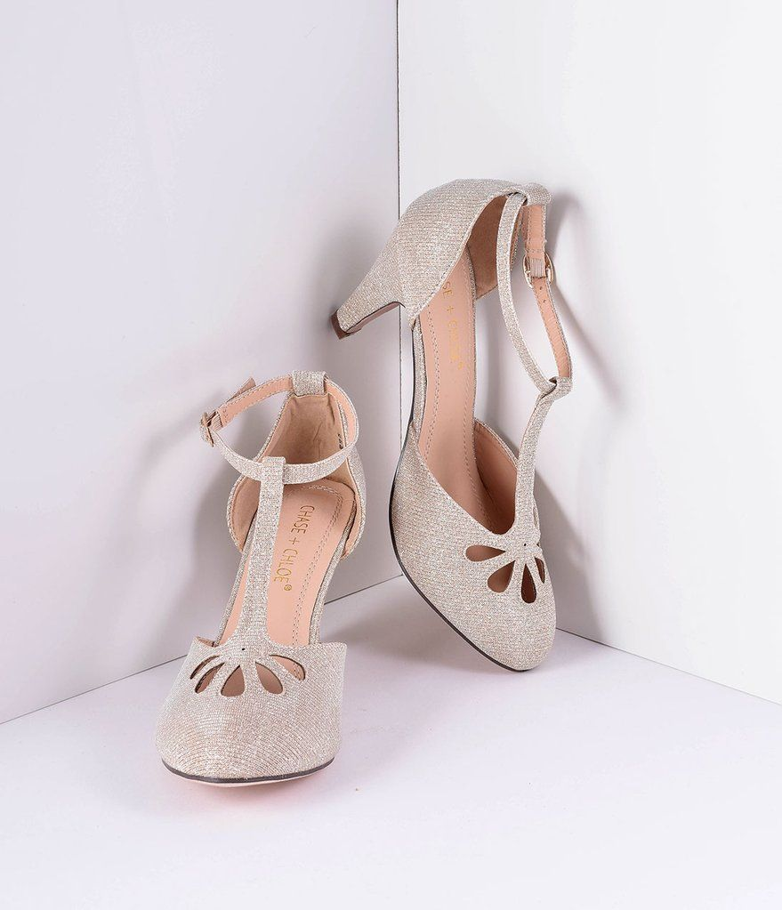 10698b83e27 Nude Sparkle Cutout Kimmy T-Strap Heels in 2019 | Bridesmaids | T ...