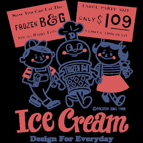 アイスクリームboygirlアメリカンレトロ 片面 デザインtシャツ通販