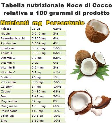 Tabella nutrizionale Noce di Cocco