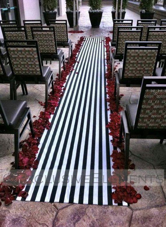 Wedding Black And White Stripe Aisle Runner Ceremony Decor Fabric Isle