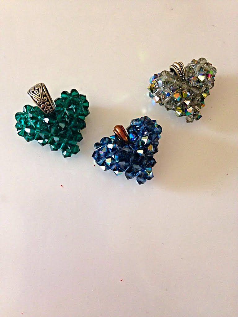 Make a Swarovski Crystal Heart, step-by-step #beads