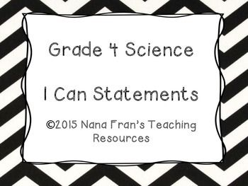 Grade 4 Science I Can Statement Posters Black and White