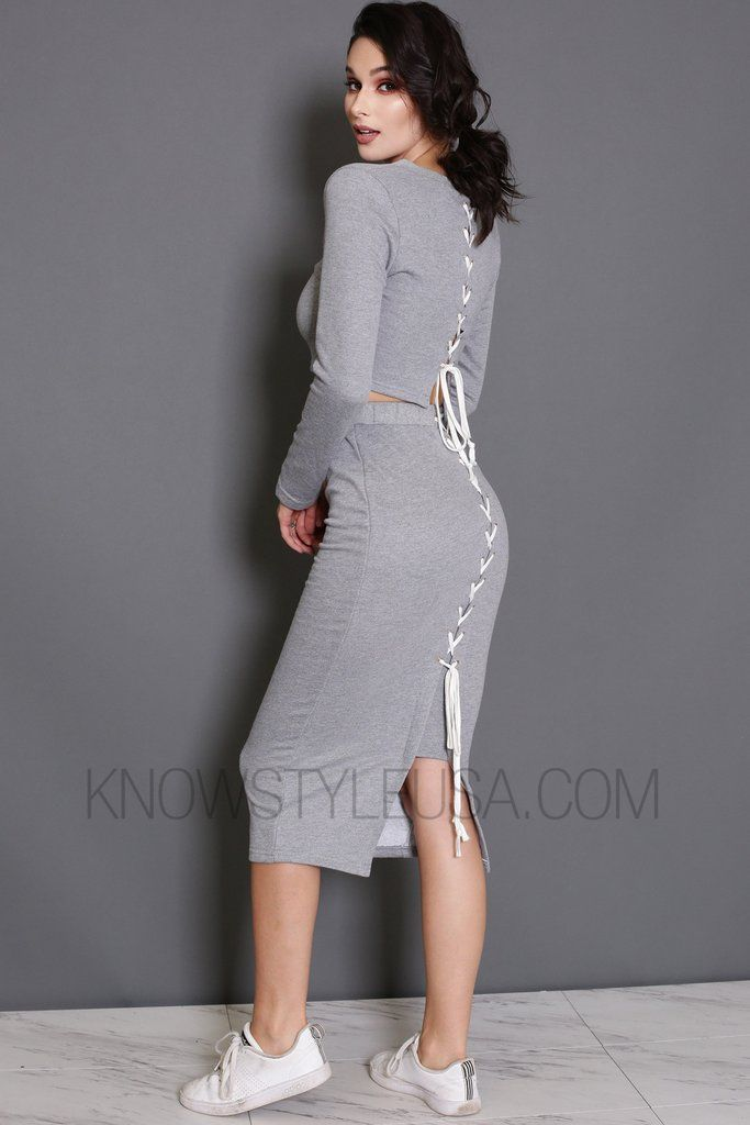 a188e72f06f123 Heather Grey long sleeve cropped top and skirt both features lace up back.  A stylish high waisted midi skit with comfortable elastic waistband.