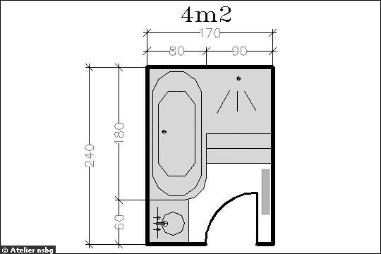 Surface de 4 m le plan d 39 une petite salle de bains avec douche baignoire salle de bain for Plan petite salle de douche