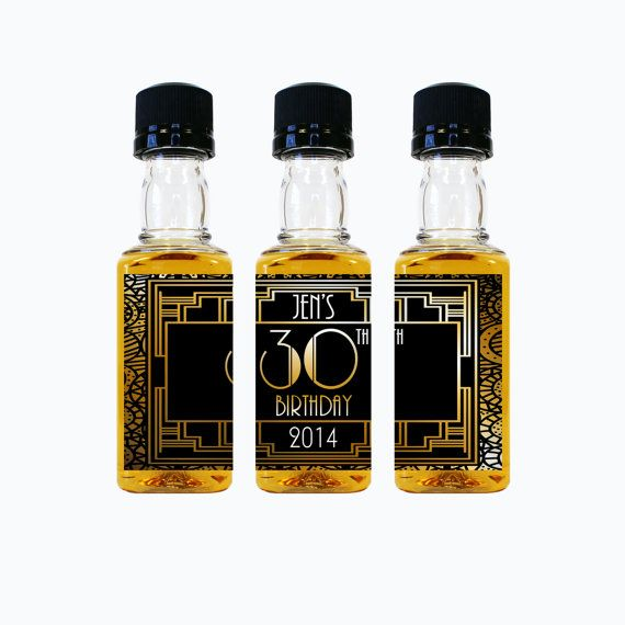 50th Birthday Liquor: Whiskey Birthday Party Favors Custom Mini Bottle Liquor