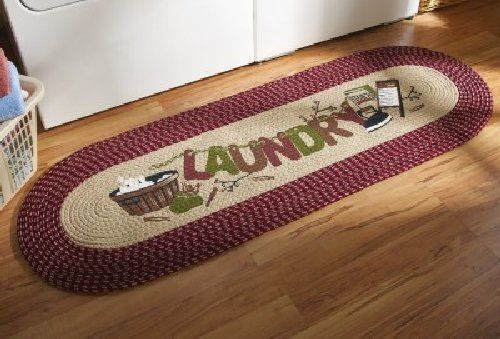 Laundry Room Rug Runner Country Decor Decorative Braided Washer