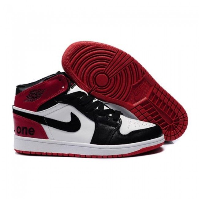 Black · Unique Air Jordan 1 (I) Retro Men Shoes White/Red/Black 1078