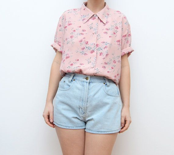 6aa72447 Vintage pink floral grunge 90s button up women by ZvezdanaVintage. THIS  SHIRT!