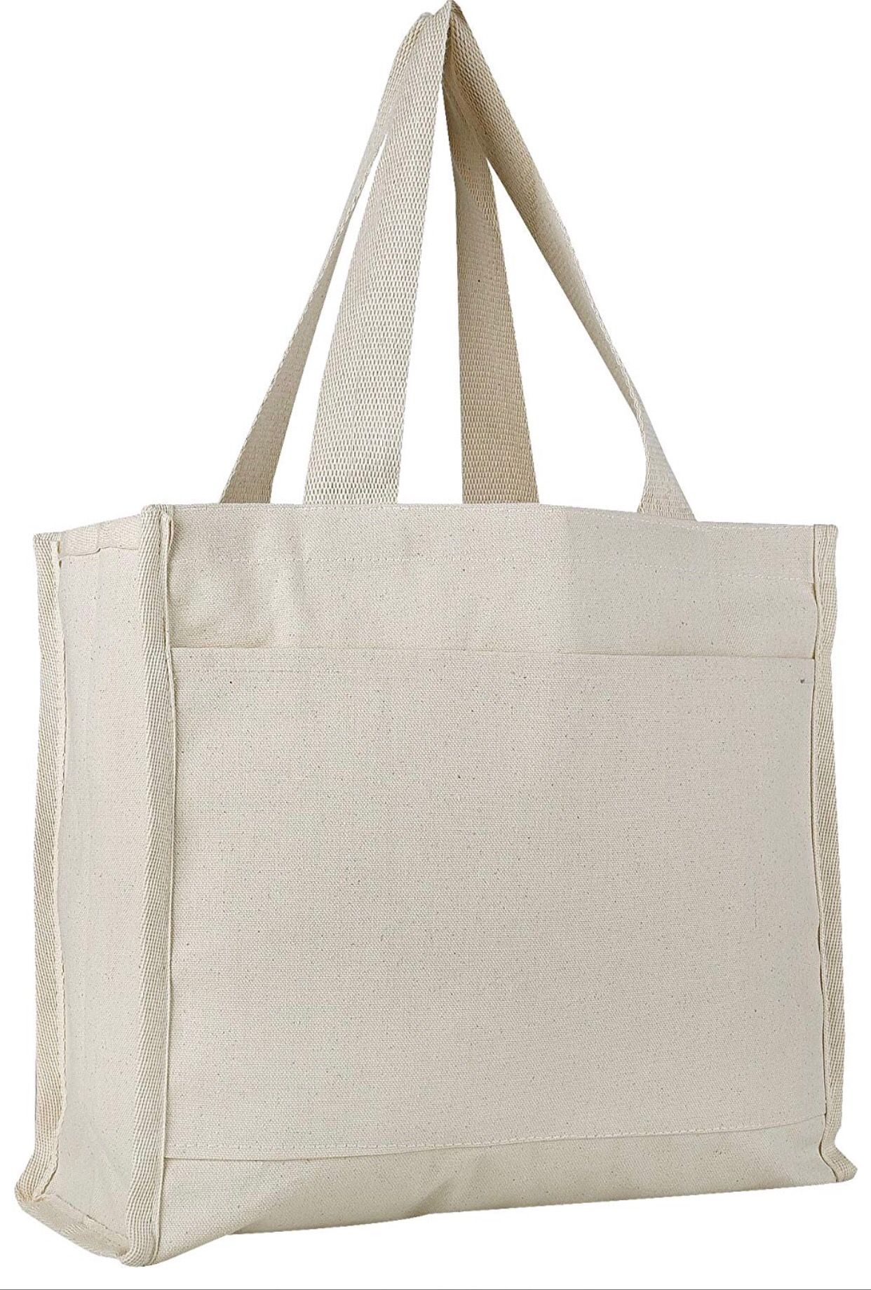 37d22520d3c This beautiful tote bag has a solid natural colored canvas base with  colored trims for a chic but simple look. You are able to take advantage of  the side ...