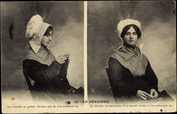 French knitter postcard, used 1915