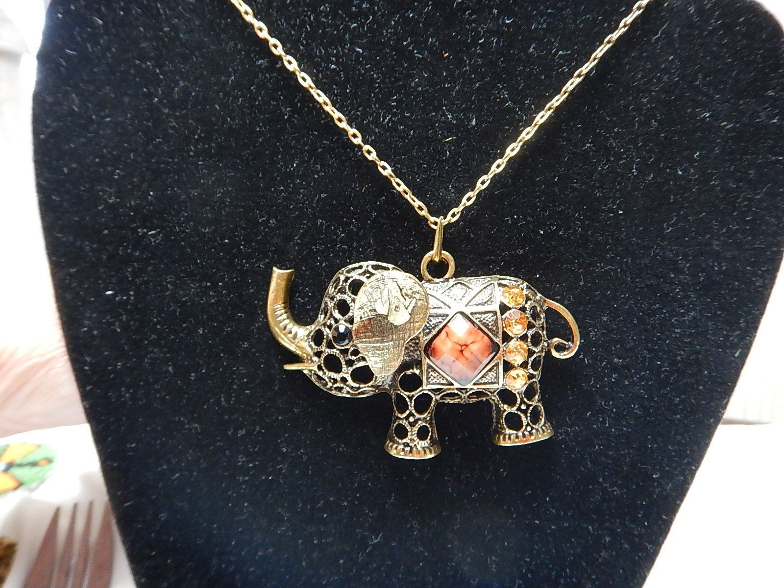 by necklace pendant statement head elephant jewelry pachyderm gold large pin vintage tone