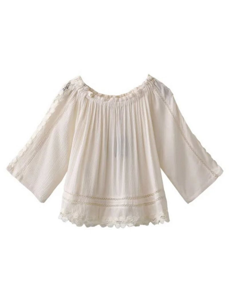 Buy White Off Shoulder Crochet Insert Applique Trim Pleated Blouse from abaday.com, FREE shipping Worldwide - Fashion Clothing, Latest Street Fashion At Abaday.com