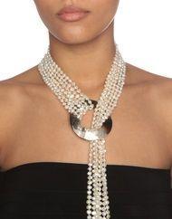 Collar «Cleopatra» con 6 hebras de perlas blancas brillantes cultivadas de agua dulce …