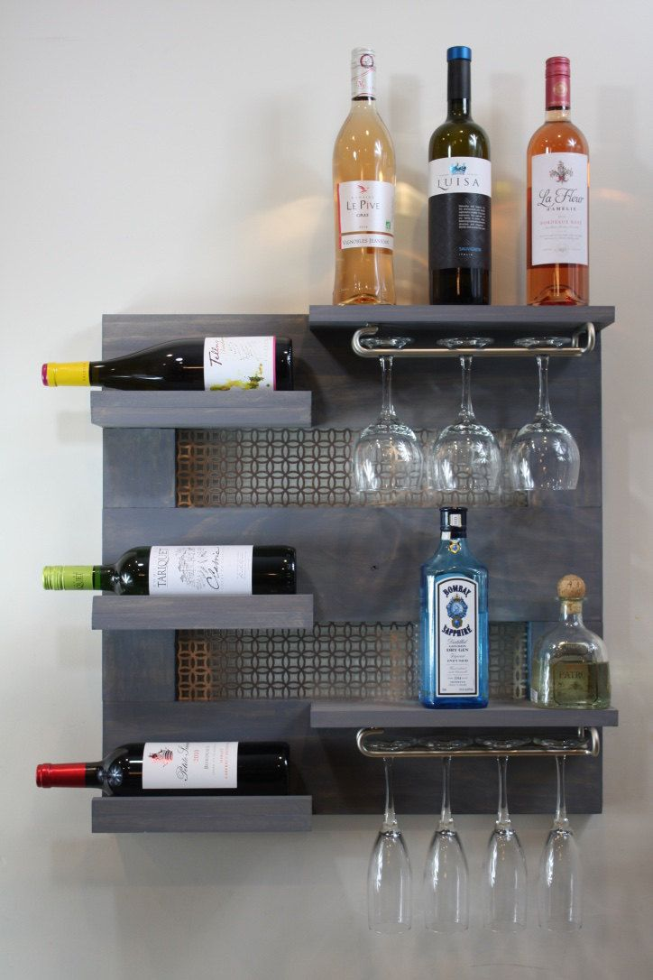 Kitchen Dining Wall Mounted Wine Rack Hanging Decorative