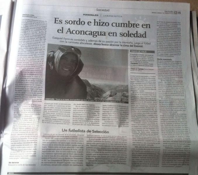 DIARIO IMPRESO Y DIGITAL - ARGENTINA - Los Andes (Diario de la Provincia de Mendoza), 1 de Febrero de 2016 - http://www.losandes.com.ar/article/es-sordo-e-hizo-cumbre-en-el-aconcagua-en-soledad