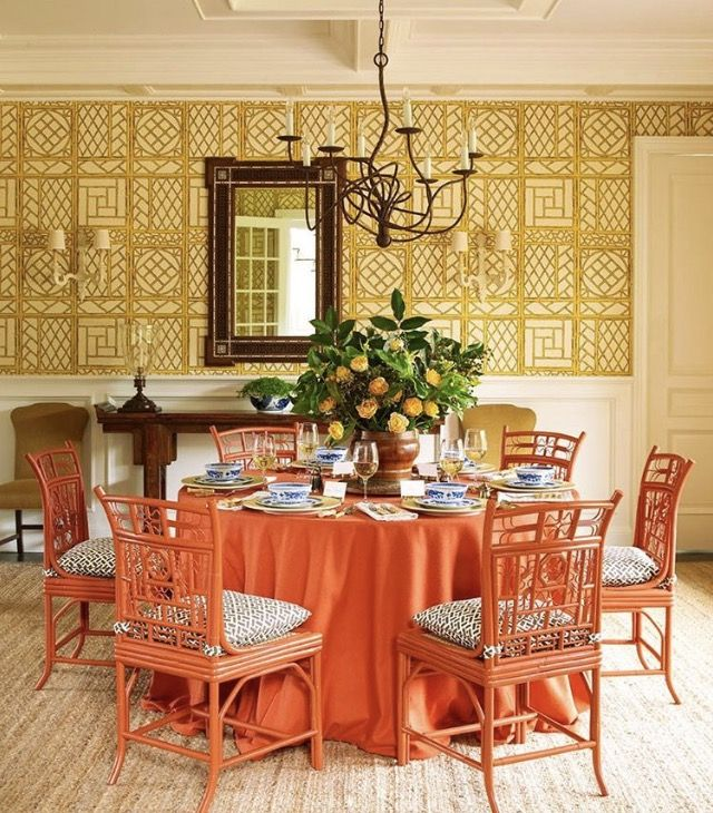 In The Dining Room, An Iron Isadora Chandelier From John Rosselli U0026  Associates Hangs Above A Vintage Table And Indochine Dining Chairs From Red  Egg. China ... Gallery