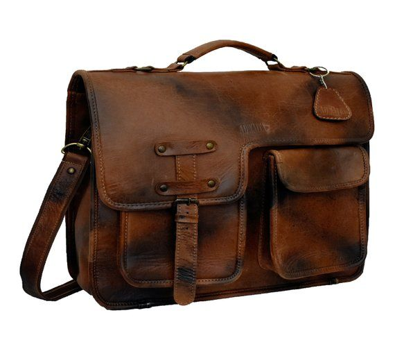 Adwaita World/'s first 4 in 1 messenger cum backpack full grain Vintage Rustic leather bag for menHim Personalizes  Monogram American Choice