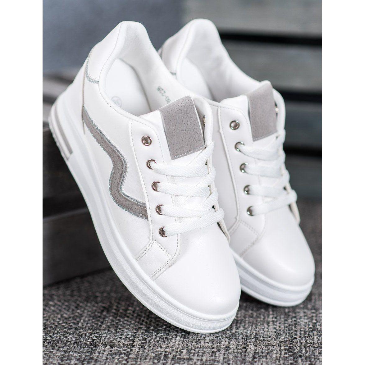 Shelovet Buty Sportowe Z Ukryta Koturna Biale In 2020 Wedding Sneaker White Sneaker Shoes