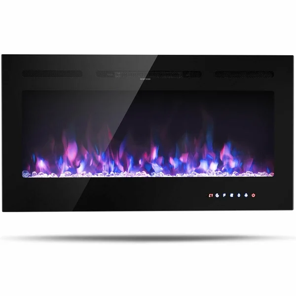 Gymax 40 Electric Fireplace Recessed And Wall Mounted 750w 1500w