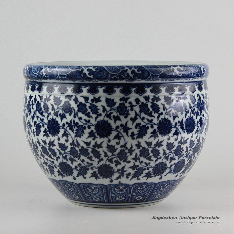 Blueandwhite Manufacturer Outlet Floral Ceramic Planter Hand Painted Ceramics White Bowls Ceramic Painting