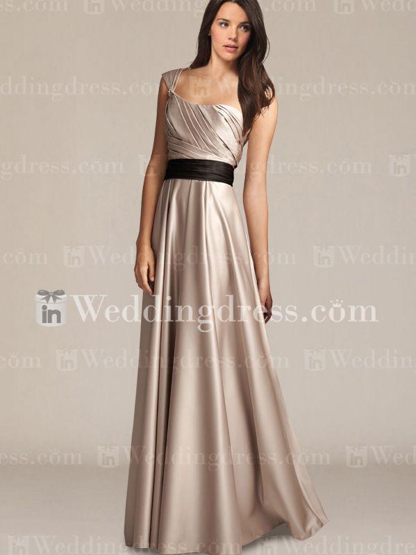 Satin One-Shoulder A-Line Bridesmaid Dress BR354 | Satin,Musta ja ...