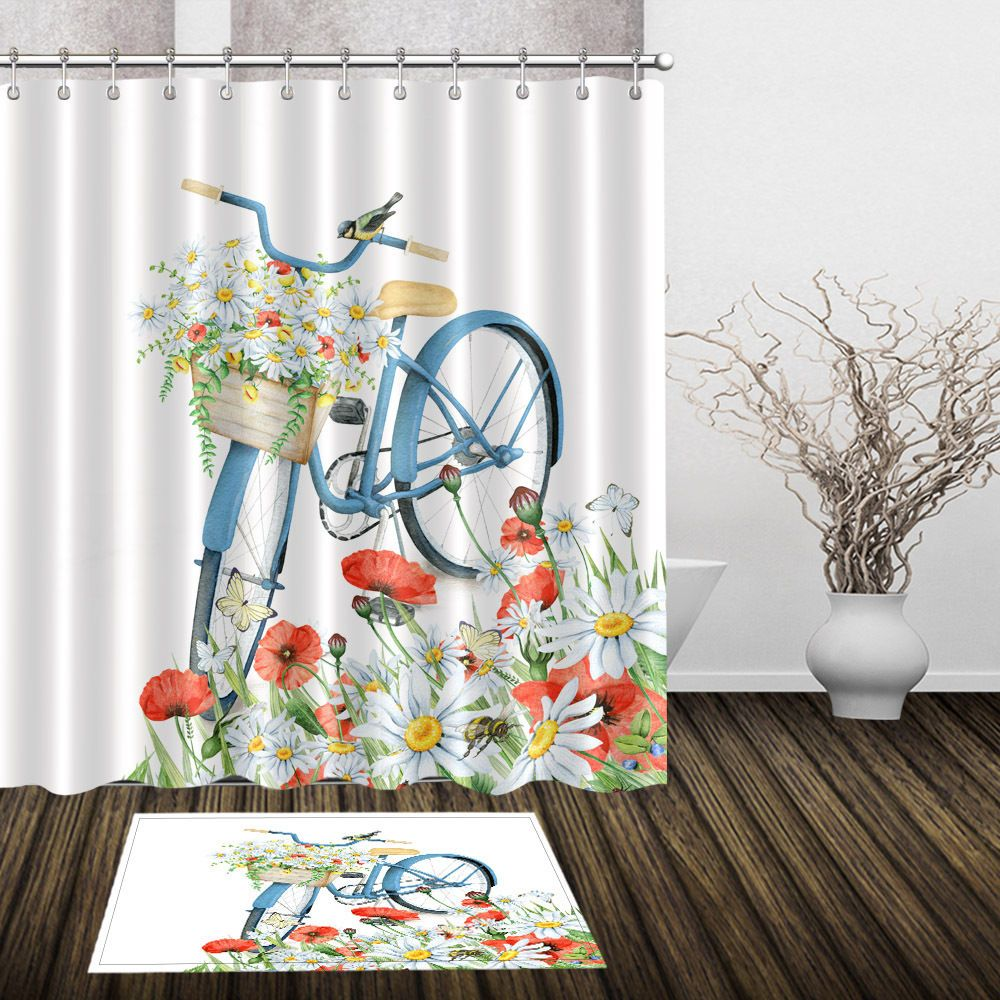 72 79 Polyester Bathroom Shower Curtain Hooks Bath Mat Rug Poppy