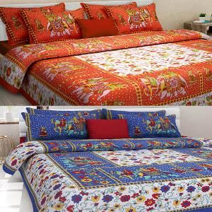 Uniqchoice Set Of 2 Rajasthani King Size Cotton Bedsheets With 4 Pillow  Covers
