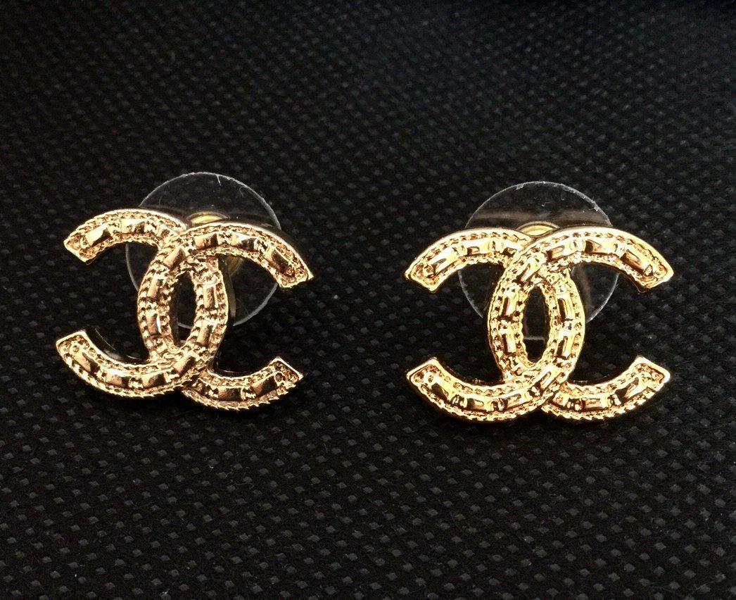 d5f5dbf6b CHANEL+Silver+Twisted+Crystal+Stud+Earrings+CC+Medium+Size+Hallmark+ ...