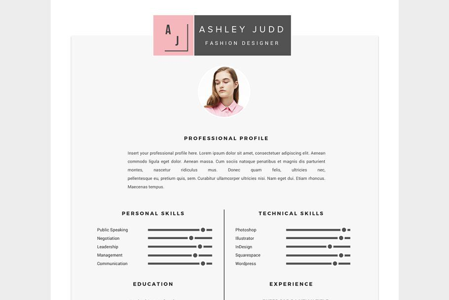 Fashion Designer Resume Template Cv Resume Template Resume Design Unique Resume Template