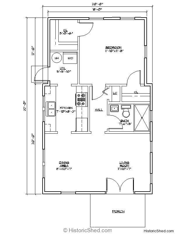 Cottage 20 39 x32 39 one bedroom one bath cottage with utility for 16x32 cabin floor plans
