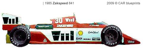 1985 Zakspeed 841 F1 OW blueprint