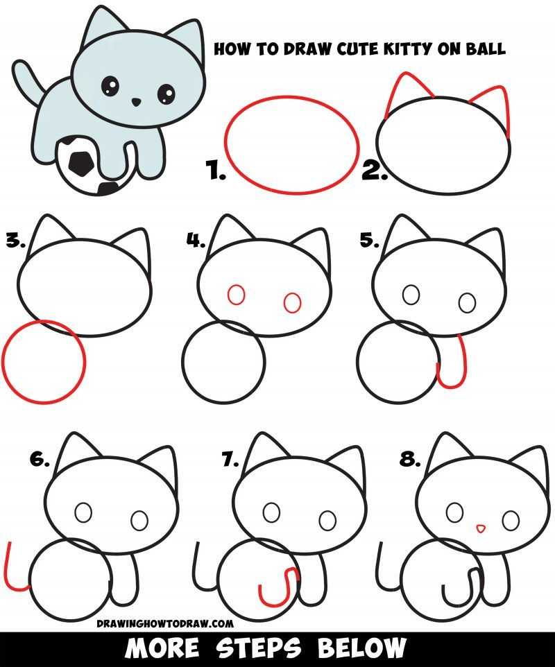 How To Draw A Cute Kitten Playing On A Soccer Ball Easy Step By