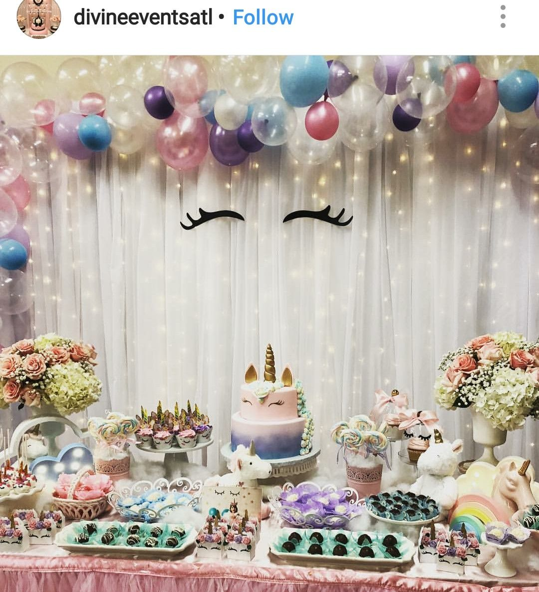 Unicorn Theme Birthday Party Dessert Table And Decor With Images