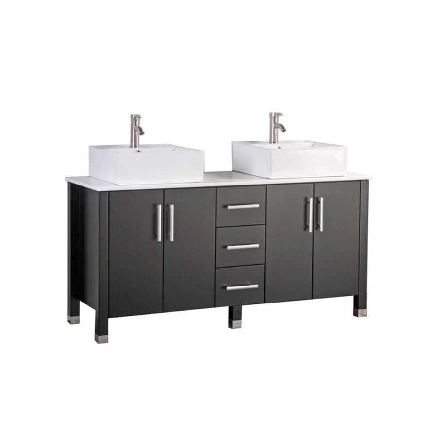 Mtd Vanities 71 In Espresso Double Sink Bathroom Vanity With White