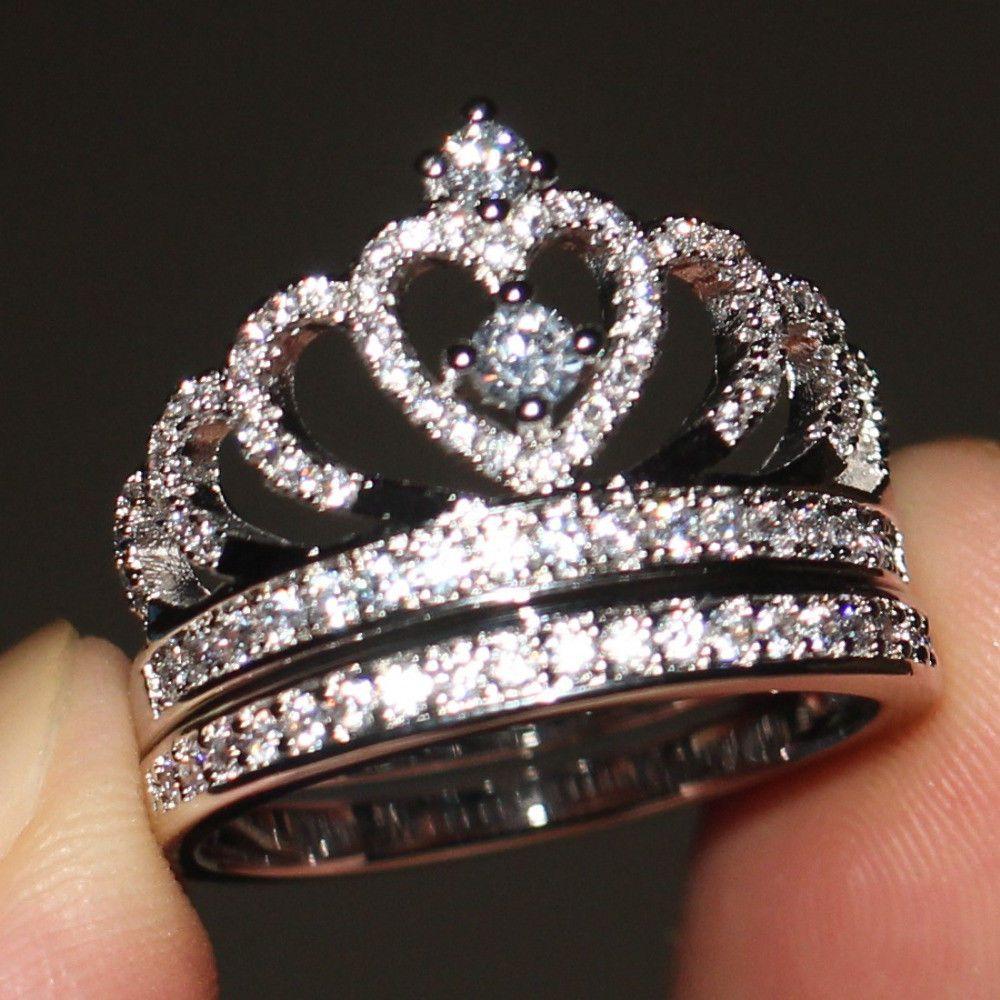 Women's Diamond Queen Crown Engagement Wedding Bridal Ring
