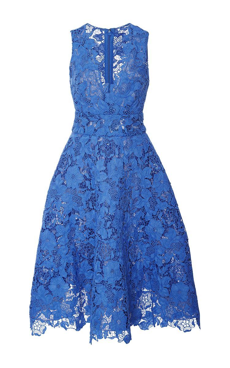 Monique Lhuillier Guipure Lace Tea Dress