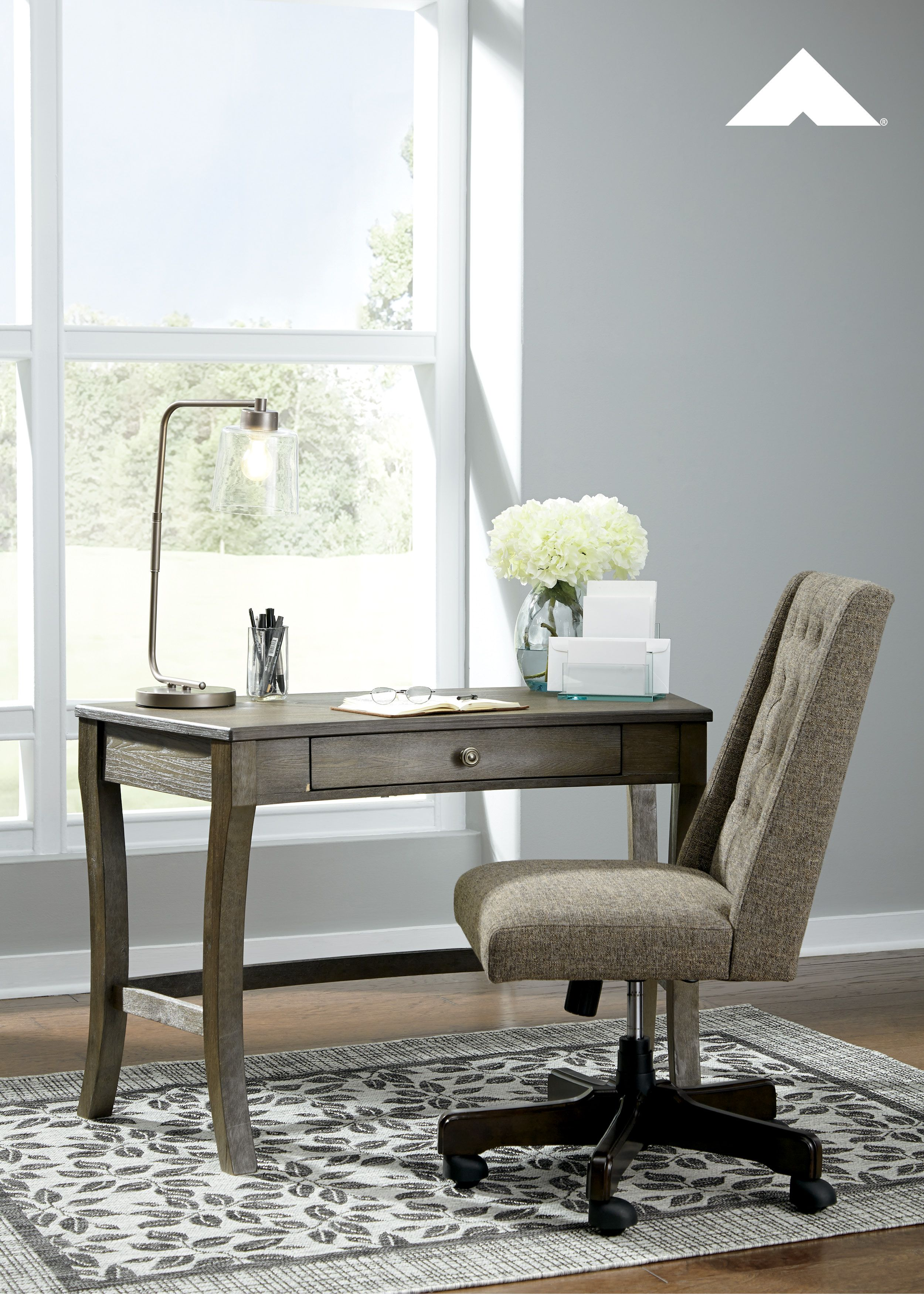 Vintelli grayish brown home office desk by ashley furniture